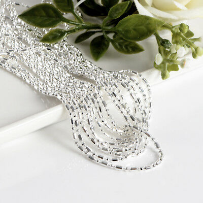 Wholesale 925 Solid Silver Plated Lots 5pcs 1mm Beads Chain Necklace 16-30inch