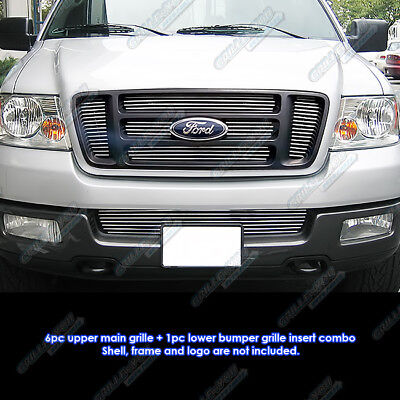 Fits 2004-2005 Ford F-150 Bar Style Billet Grille Combo