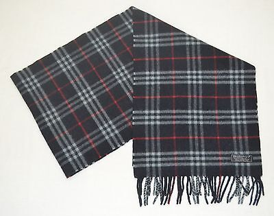 Vintage Burberry Of London Dark Blue Scarf Muffler Lambswool Made In England
