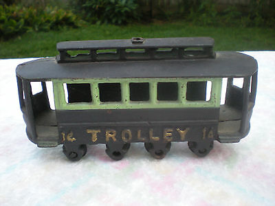 "8"" VINTAGE CAST IRON TROLLEY # 14 CAR BLACK /GREEN PEACHY TRIM-NICE"
