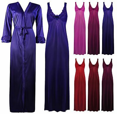 Elegant Designer Womens Long Nightie Ladies Full Sleeve Nightwear Set 8-14
