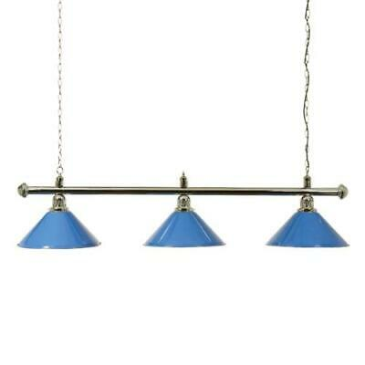 Chrome Snooker or Pool Table Light Rail with 3 Blue Shades