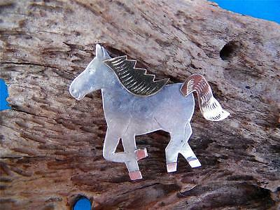 Vintage Mexico Taxco Gold Silver Copper Figural Running Horse Mix Metal Hat Pin