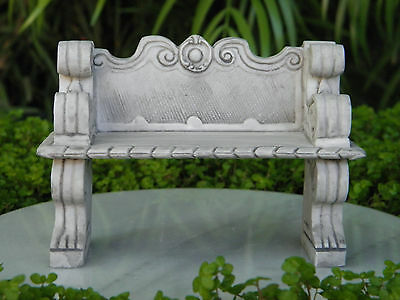 Miniature Dollhouse FAIRY GARDEN Furniture ~ Gray Victorian Bench ~ NEW