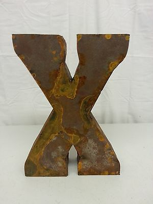 "12"" X Block Letter Vintage Marquee Recycled Metal Tin Industrial Salvage Rustic"