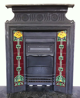 Original Restored Antique Cast Iron Art Nouveau Fireplace Tiled Insert (PK079)