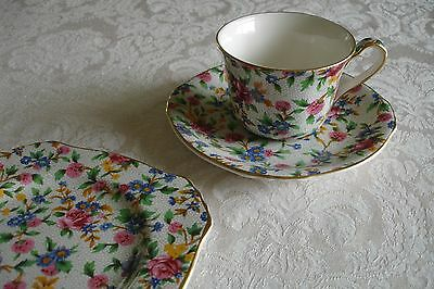 Royal Winton Chintz Old Cottage Trio Tea Cup Saucer Tea Plate Set of 3 NEW