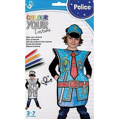NEW Colour Your Costume - Childrens Colouring Dress Up Kit - Police