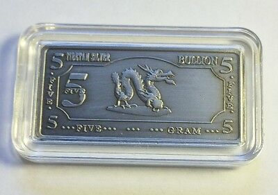 "5 Gram Tibetan Silver ""Year Of The Dragon"" Ingot (b)"