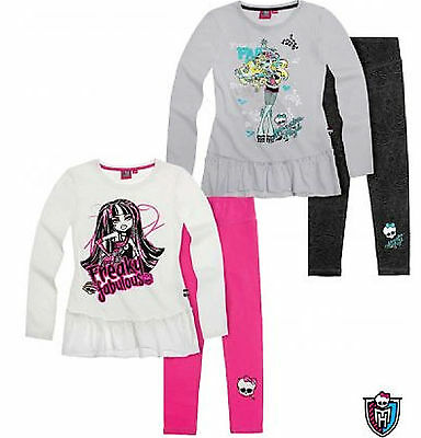 Kids Girls Disney Cartoon MONSTER HIGH Long Sleeve Top+Legging Outfit Set 7-14YR