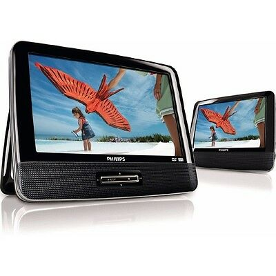 "7"" Inch PHILIPS ELECTRONICS DUAL SCREEN PORTABLE DVD CD MP3 JPEG PLAYER"
