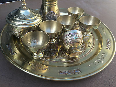 Inlaid Silver Brass Copper Middle Eastern Islamic Turkish Coffee Set /Tea Set