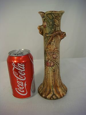 Weller Vase Pottery High Relief Woodcraft Fruit Tree Trunk Limb Vintage Antique