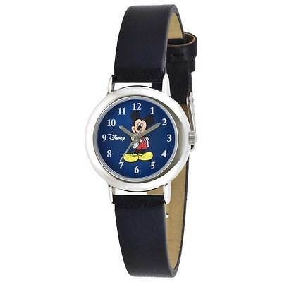 Disney Women's Mickey Mouse Silver-Tone Black Band Watch MCK616