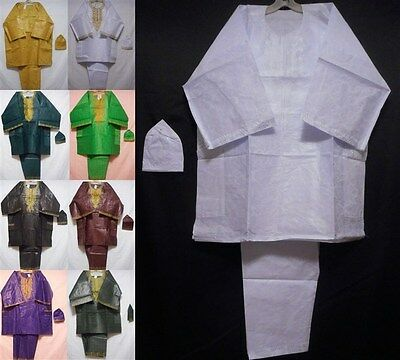Men's African Clothing Brocade Pant Set Traditional Pant Suit 3 pieces Free Size