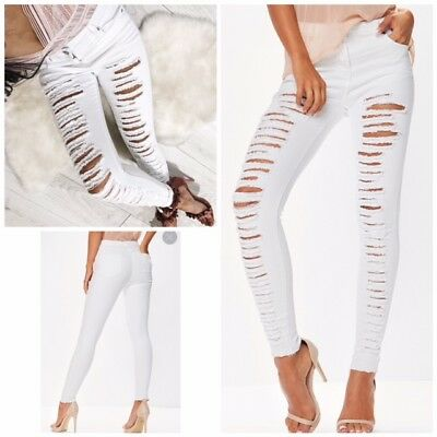 Women Ladies Fit Stretch Ripped Skinny High Waisted Denim Pants Jeans 8 10 12 14
