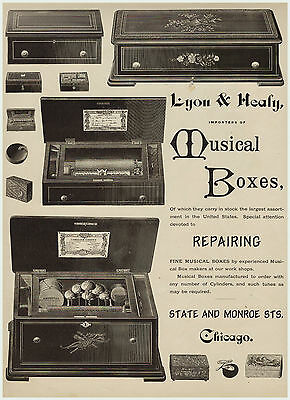 SUPER Rare 1879 Lg Advertising - Lyon & Healy Musical Boxes Music - Chicago