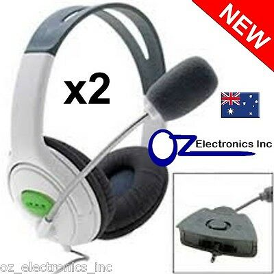 2x XBOX 360 Stereo Gaming Headphones Headset & Microphone XL Sensational NEW