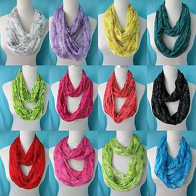*US SELLER*lot of 10 loop scarf wholesale flower paisley infinity fashion scarf