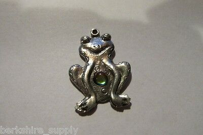 Six Pewter Frog Pendants With Aurora Crystals