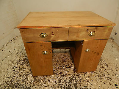 pine,small,desk,drawers,brass handles,cupboards,shelves,stripped pine,home,work