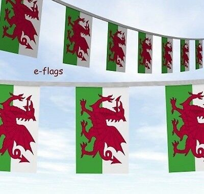 Massive 100 Ft Of Wales Cymru Welsh Dragon Flag Bunting Rugby 6 Nations