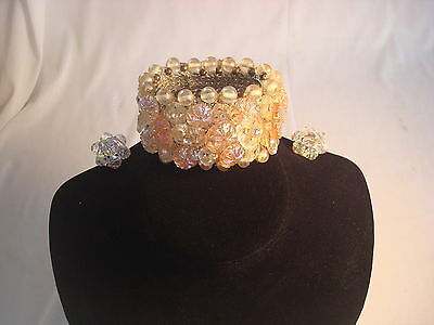 Vntage Clear & Pink Iridescent Beads Costume Jewelry Bracelet Clip Earrings NICE