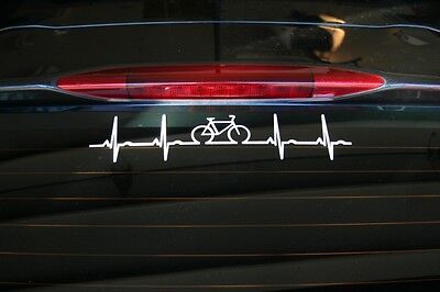Bicycle heartbeat die-cut car window sticker, buy 2 get 1 free of the same item!