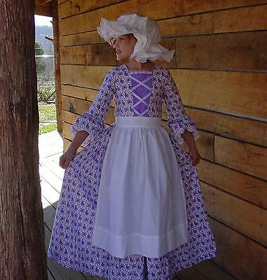 Homemade Modest Quality Historical Costume Colonial ~Purple Day Dress~ Child 14