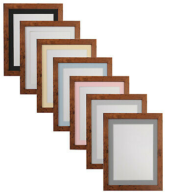 Rustic Oak Photo Picture Frames & White Black Ivory Blue Pink or Grey Mounts H7