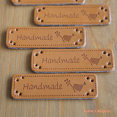 """5pcs: Synthetic PU Leather Labels/ """"Handmade"""" & Little Bird/ Sewing Craft DIY"""