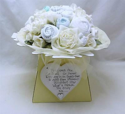 NEUTRAL NEW BABY CLOTHES BOUQUET GIFT O-6m NAPPIES HEART