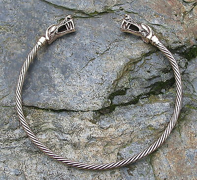 Torc Torque BRONZE choker necklace collar viking celtic medieval Dragon