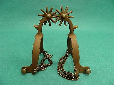 NICE VINTAGE  PAIR OF CALIFORNIA STYLE DROP SHANK WESTERN COWBOY SPURS - CHAINS