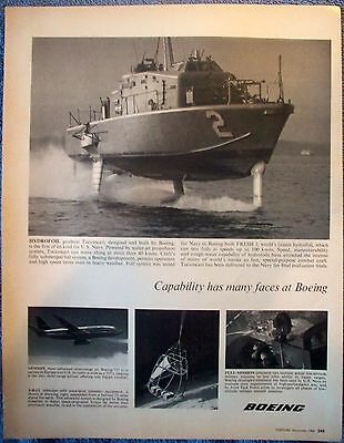 1968 Boeing Hydrofoil Gunboat US Navy Tucumcari Capability Many Faces ad