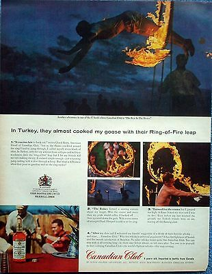 1963 Canadian Club Whisky Turkey Ring Of Fire Leap Chuck Kern ad