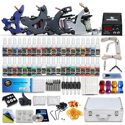 Pro New Tattoo Kit 4 Rotary Machines Gun Power Supply 40 Inks Case Set Supply