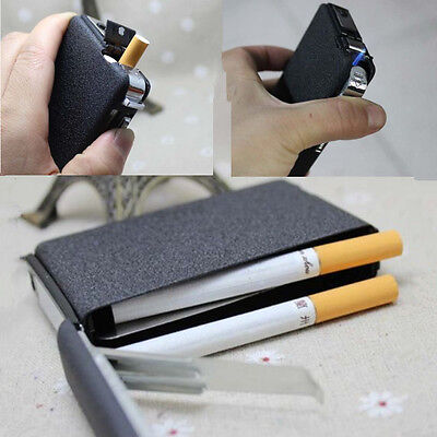 Cigarette Case&Lighter Automatic Ejection Butane Windproof Metal Box Holder Unic
