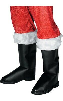 Deluxe Santa Clause Adult Black Boot Tops Christmas Costume Accessory