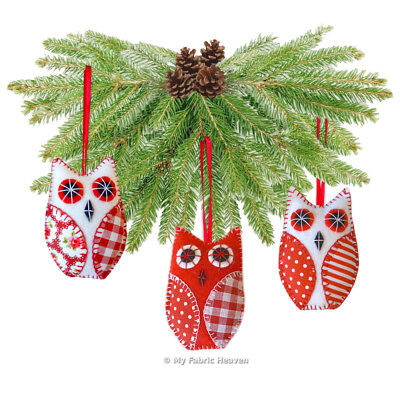 OWL Christmas Tree Decoration /Ornament, Fabric Sewing PATTERN, Wedding Favours