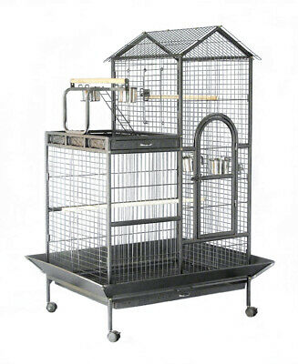 160 cm New Canary Bird Parrot Cage Aviary Budgie With Stand Castor Perches Wheel