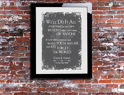Snow Patrol Chasing Cars Lyrics Word Wedding Song Personalised Canvas