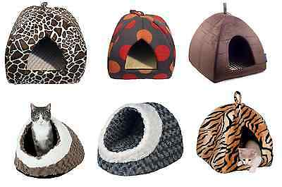 Cat Kitten Small Dog Puppy Igloo Comfy Hooded Cave Bed  Hide Beds Free Postage