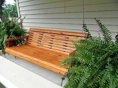 4ft Handmade Southern Style Round-Faced Redwood Stained Wood Porch Swing