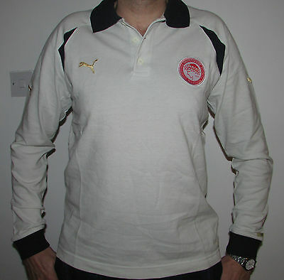 "Mens Puma Olympiakos Long Sleeved Cotton Polo Shirt Size L 41-43""Olympiacos BNWT"