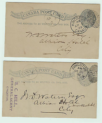 LOT of 2 - 1889 Canada Postcards Post Mark Kingston Ontario w Messages