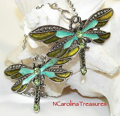 Ceiling Fan Chain Light Switch Pull Dragonfly Antique Silver Green Large Pair