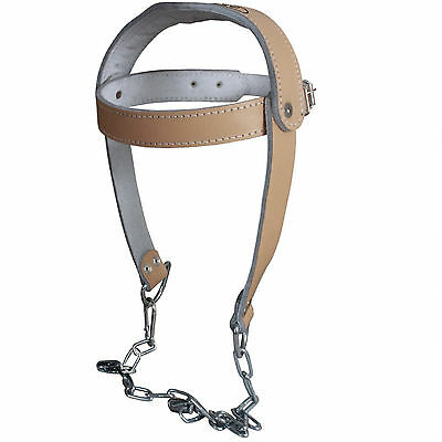 Leather Weight Lifting Head Harness Padded Neck Strength Gym Training Exercise