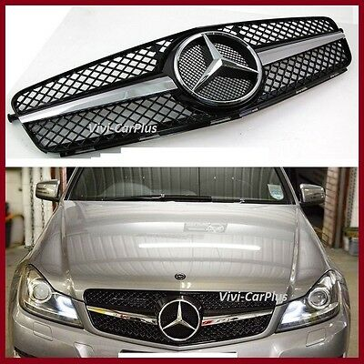 12-14 M-Benz W204 C Class C200 C300 C350 1 Fin SL Look Front Grille Gloss Black