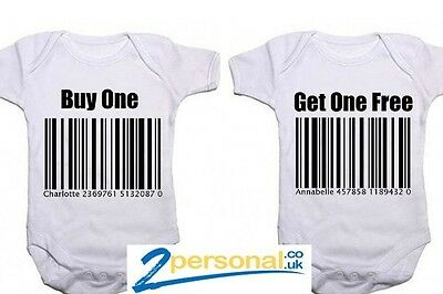 Personalised Twins Baby bodysuits - Buy one, get one free!